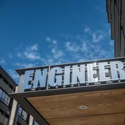 Sign saying Engineering outside Thom Building
