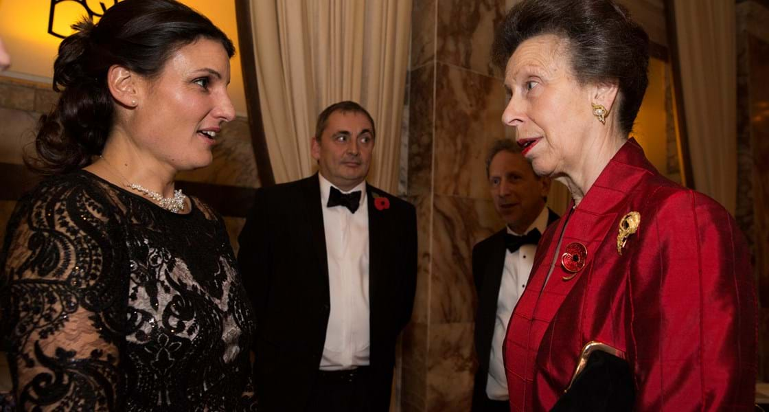 Princess Anne talking to Amelia Gould at WISE VIP Reception 2017