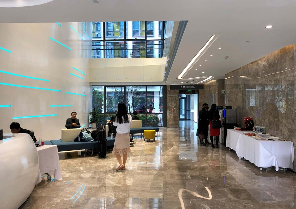 A foyer in the Oxford-Suzhou Centre for Advanced Research, known as OSCAR, in Suzhou Industrial Park (SIP) in eastern China.
