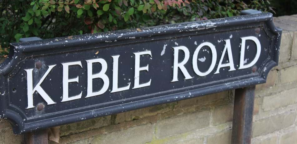 Street sign saying 'Keble Road'