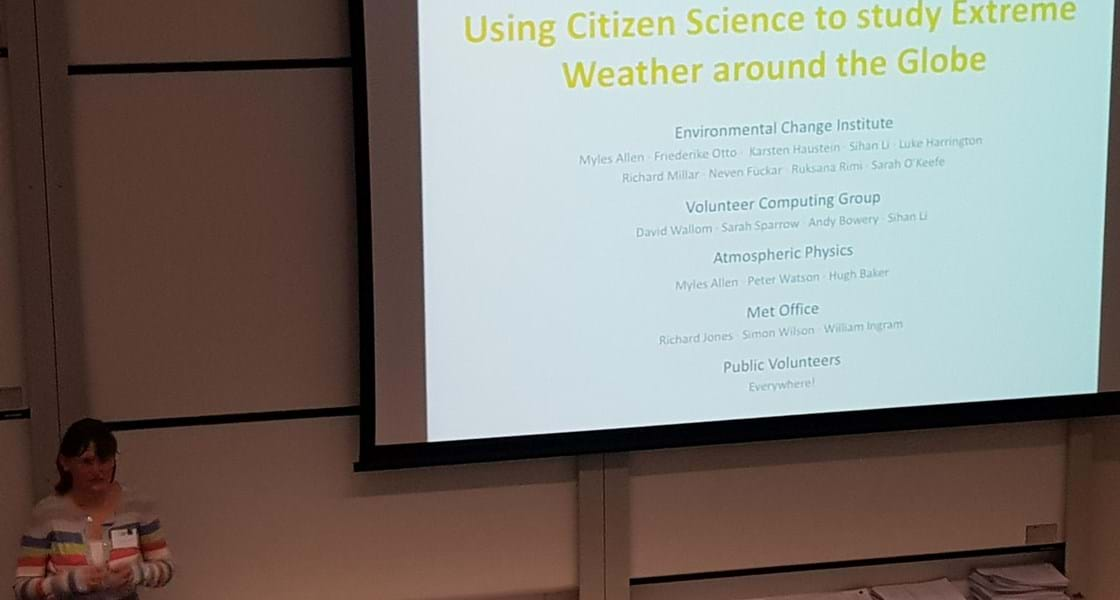 Dr Sarah Sparrow presenting on citizen science for study of extreme weather at researcher event