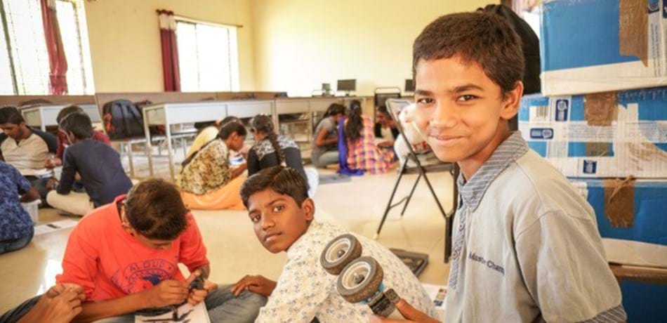 Students in Karnataka, southern India, taking part in interactive workshops run by the Oxford branch of Engineers without Borders