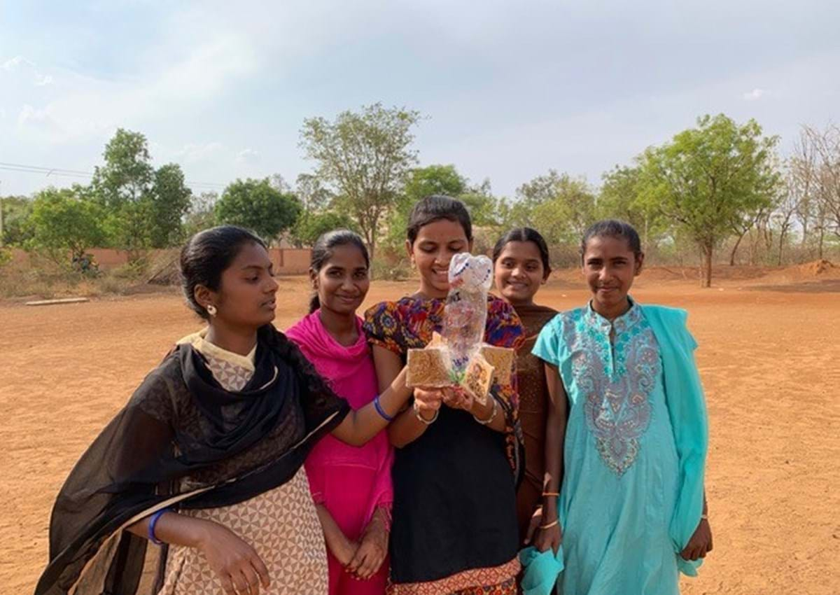 A group of female students in Karnataka, southern India, taking part in interactive workshops run by the Oxford branch of Engineers without Borders
