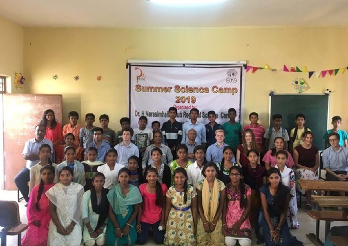 Participants in a Summer Science Camp in rural India organised by the Oxford Engineers without Borders team