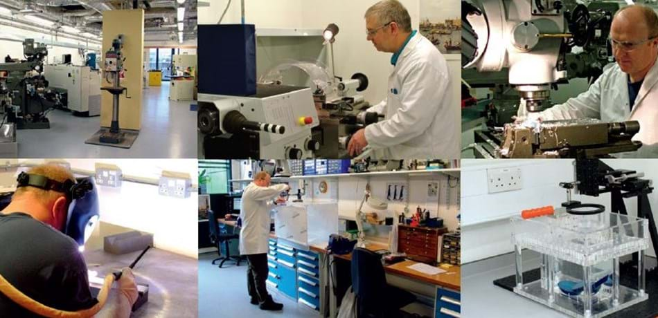 Collage of biomedical researchers in a lab.