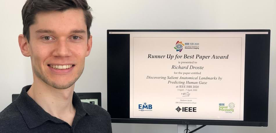 DPhil student Richard Droste from the Institute of Biomedical Engineering wins Runner Up for Best Paper