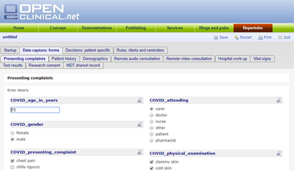 Screenshot Of Openclinical.Net Platform Showing Data Capture Of Patient Symptoms And Characteristics