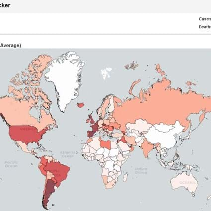 Covid19 Tracker showing world map of cases in last 7 days