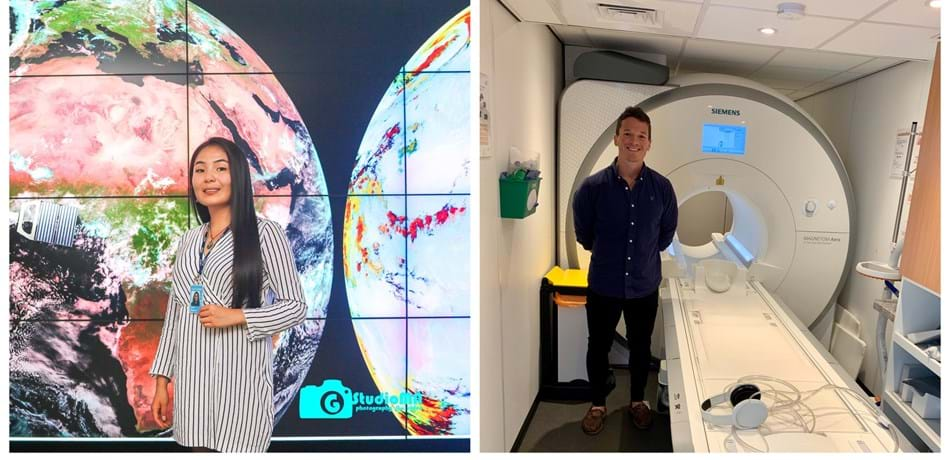 Maral Bayaraa against a background of satellite images and Tom Waddell next to an MRI scanner