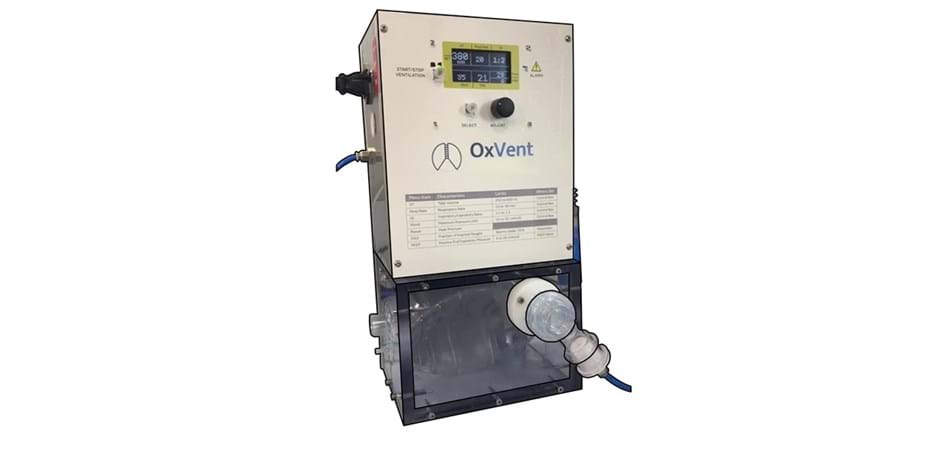 OxVent ventilator machine, front view