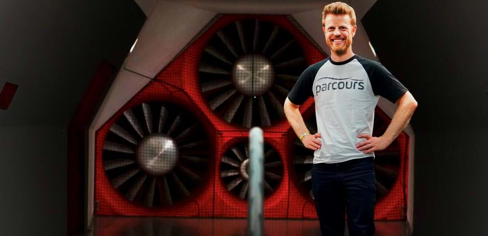 Alumni Dov Tate at the A2 wind tunnel in North Carolina